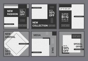 verzameling van vierkante sjabloon voor spandoek instellen. witte en gele achtergrondkleur met streeplijnvorm. mode verkoop. promotionele webbanner voor sociale media. vectorillustratie met foto college vector
