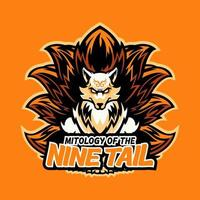 vos hoofd sport logo mascotte ontwerp illustratie voor sport en e-sport of gaming team. boze wilde vos met negen staart mascotte sport slijtage typografie embleem grafisch, atletische kleding stempel. vector