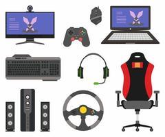 verzameling van digitale gaming instellen. assortiment e-sporttoestellen zoals computer, koptelefoon, gamestoel, joystick, toetsenbord, muis, audioluidspreker, stuurwiel en laptop gaming. vector plat pictogrammen