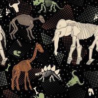 naadloze patroon met skeletten van dinosaurussen. naadloze patroon met uitputtingen. print voor stof. vector