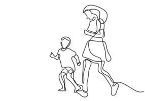 doorlopende lijntekening van jonge moeder die 's ochtends samen met haar kind loopt. gelukkige vrolijke moeder en zoon doen oefening in het veldpark. gezins liefdevolle zorg concept. vector illustratie