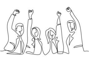 doorlopende lijntekening van kantoormedewerker handen omhoog en springen gelukkig. jonge zakenman en zakenvrouw spreekt over succes met handgetekende minimalistische stijl van nieuwe projecten. vector illustratie