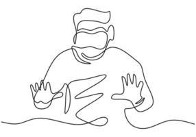 man in bril apparaat virtual reality continu een lijntekening. een man die doet alsof hij de knop aanraakt terwijl hij een virtual reality-helm draagt die op een witte achtergrond wordt geïsoleerd. vector illustratie