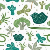 verse groenten platte hand getrokken naadloze patroon. gezonde voeding biologisch voedsel geïsoleerd op een witte achtergrond. gezonde levensstijl concept. keukentextiel, vector vulling als achtergrond