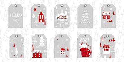 verzameling van 10 kerst- en nieuwjaarsgeschenklabels met textuur. kan worden gebruikt voor stof, telefoonhoesje en inpakpapier. nieuw jaar 2021. vector