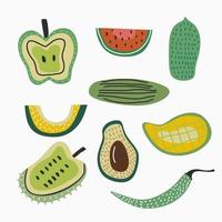 set van vers fruit geïsoleerd op een witte achtergrond. assortiment van verschillende soorten fruit omvat appel, watermeloen, papaja, mango, avocado, granaatappel, chili, komkommer. vector illustratie