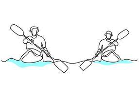 een doorlopende lijntekening van een energieke atleet-bootrace op de rivier. een groep roeiers geniet in lange boten concurreren geïsoleerd op witte achtergrond. teamlid roeiboot teamwerk concept vector