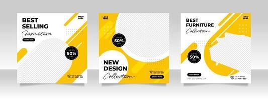 minimalistische banner voor meubelverkoop of postsjabloon voor sociale media vector