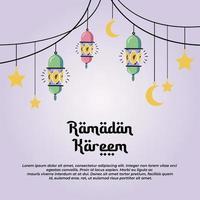 ramadan kareem bannerontwerp minimalistische tekening van moskee vector