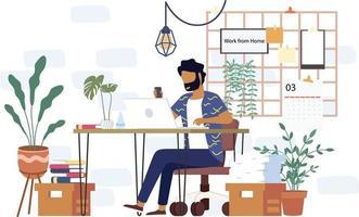 een universitaire student studeert vanuit huis via een online laptop in minimaal vectorontwerp. werk vanuit huis-online videoconferentiestudie vanwege de uitbraak van covid19 vector