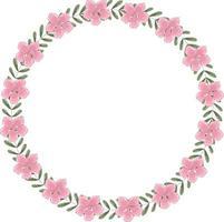 vector ronde krans van roze bloeiende bloemen en groene bladeren. het frame heeft binnen plaats voor tekst.
