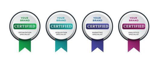 logobadge voor technische certificering, analist, internet, data, managementsysteem, etc. digitaal gecertificeerd logo geverifieerde prestaties bedrijf of bedrijf met lintontwerp. vector illustratie.