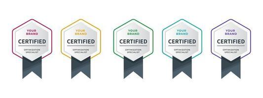 logobadge voor certificaat technisch, analist, internet, data, conferentie, etc. digitaal gecertificeerd logo geverifieerde prestaties bedrijf of bedrijf met zeshoekig lintontwerp. vector illustratie.