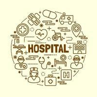 ziekenhuis minimale dunne lijn iconen set