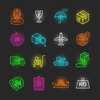 logistieke neon pictogramserie vector