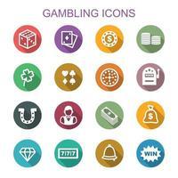 gokken lange schaduw pictogrammen vector