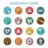 democratie lange schaduw pictogrammen vector