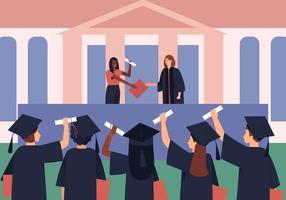afgestudeerden krijgen diploma's en rollen vector
