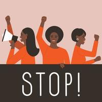 Afro-Amerikaanse vrouwen nemen deel aan de staking vector