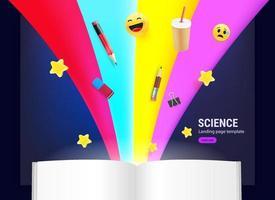 open boek met verschillende elementen die erin stromen vector