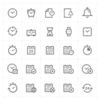 tijd en schema lijn pictogrammen. vectorillustratie op witte achtergrond. vector