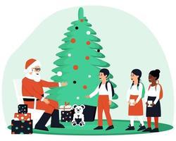 gelukkige kinderen kwamen de kerstman bezoeken vector