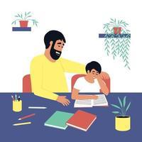 vader kijkt toe hoe zijn zoon het boek leest
