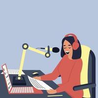een vrouwelijke radiopresentator zendt uit in de studio vector
