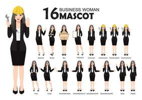 16 zakelijke vrouw mascotte in zwart pak, cartoon karakter stijl vormt instellen vectorillustratie