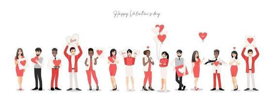 cartoon mensen houden van harten voor Valentijnsdag