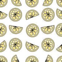 vector naadloze patroon met hand getrokken plakjes citroen