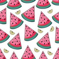 zomer watermeloen en citroenen naadloze patroon op witte achtergrond