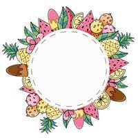 zomer rond frame met exotisch fruit, ijs en kokosnoot hand getrokken vector