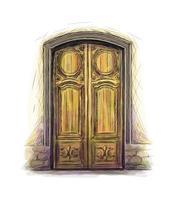 elementen van de architectuur, voordeur achtergrond, met de hand getekende oude houten deur. vector illustratie