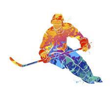 abstracte hockeyspeler uit een scheutje aquarellen. wintersport. vectorillustratie van verven vector