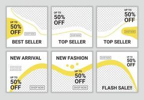 6 set van bewerkbare minimale puzzel vierkante sjabloon voor spandoek voor digitale marketing. korting bij nieuwe aankomst tot 50 procent. mode verkoop promotie. vector flash verkoop illustratie met foto college