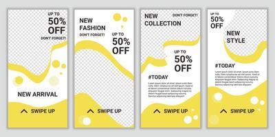 sjablonenpakket voor sociale media-verhalen met abstracte vierkante puzzel voor mega grote verkoop in de mode. moderne elegante verkoop- en kortingsacties. ontwerp achtergronden voor verhalen op sociale netwerken vector