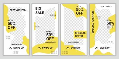 set bewerkbare ontwerpachtergronden voor banner voor sociale media. lay-out voor speciale mode verkooppromotie. mockup voor reclame. gele en witte vierkante puzzel vectorillustratie vector