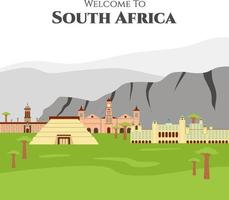 welkom in Zuid-Afrika. land zuid-afrika reizen vakantie van plaats en functie. set van monumentale gebouwen die u moet bezoeken. infographic sjabloonontwerp op vlakke stijl. vector illustratie
