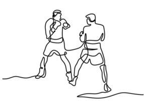 continu een lijntekening van twee man die boksen speelt in de ring. twee professionele bokser is tegen elkaar vechten in toernooi geïsoleerd op een witte achtergrond minimalistische stijl. vector illustratie