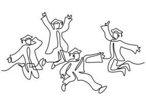 een lijntekening van jonge gelukkige afgestudeerde mannelijke en vrouwelijke student springen hand getrokken doorlopende lijn minimalisme kunststijl op witte achtergrond. viering concept. vector schets illustratie