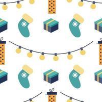 Nieuwjaars kerst vector naadloze patroon. geschenken, sokken, slingers. vakantiedruk, verpakking