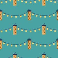 vector naadloze patroon met geschenkdozen en slingers op een groene achtergrond. vakantiedecor, wenskaart