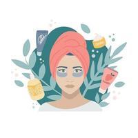het concept van natuurlijke cosmetica. een meisje met een handdoek op haar hoofd en vlekken onder haar ogen op een achtergrond van planten, een cirkel met potten met crèmes, gels, shampoos. vector afbeelding