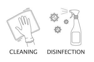 pictogrammen met als thema reiniging, desinfectie, bestrijding van coronavirus, bacteriën. schoonmaak van gebouwen, ziekenhuizen, kinderinstellingen. vector lineaire stijl op een witte achtergrond