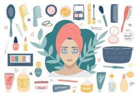grote cosmetische set met verzorgingscosmetica. een meisje met patches onder haar ogen, een make-uptasje en de inhoud ervan. vector afbeelding op een witte achtergrond
