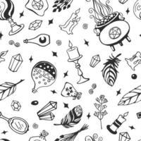 hekserij, magische achtergrond voor heksen en tovenaars. vector naadloze patroon in vintage stijl. hand getrokken magische hulpmiddelen, concept van hekserij.