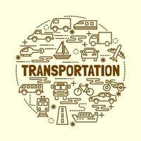 transport minimale dunne lijn iconen set