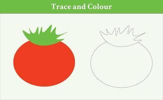 trace en kleur tomaat vrije vector