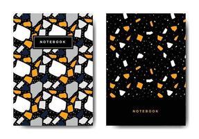 terrazzo abstracte voorbladsjablonen. universele abstracte lay-outs. toepasbaar voor notebooks, planners, brochures, boeken, catalogi vector